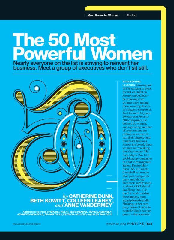 tipografia ilustração e design jessica hische 50 mulheres mais poderosas revista